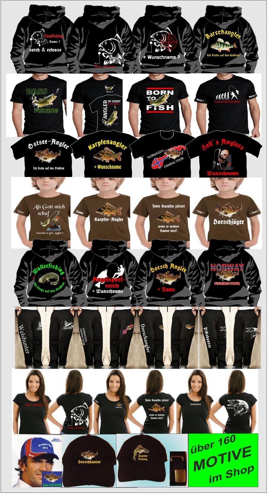 Bekleidung Anglershirt Angler T-Shirt Hells Anglers Skull Angeln Köder Höllenangler 100 Hemden & T-Shirts