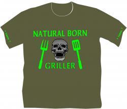 Grillen T-Shirt geboren zum Grillen Partygag T-Shirt Grillen Männershirt